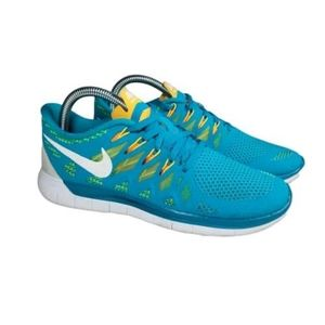 NIKE FREE 5.0 RUNNING SHOES TEAL AND ORANGE